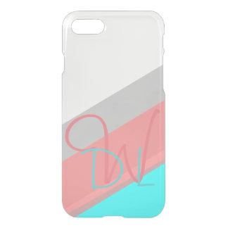 Capa iPhone 8/7 Monograma cor-de-rosa e ciano das listras |