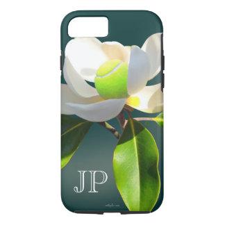 Capa iPhone 8/ 7 Monograma da flor da magnólia do tênis