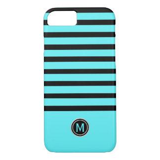 Capa iPhone 8/ 7 Monograma da listra azul do Aqua do preto & da