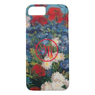 Capa iPhone 8/ 7 Monograma das flores de Van Gogh & de Elizabeth -