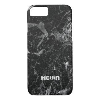 Capa iPhone 8/ 7 Monograma de pedra de mármore preto da textura