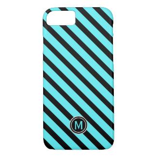 Capa iPhone 8/ 7 Monograma diagonal azul da listra da piscina preta