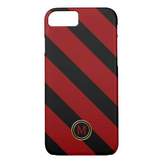 Capa iPhone 8/ 7 Monograma largo diagonal vermelho da listra do