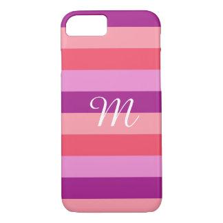Capa iPhone 8/ 7 Monograma listrado roxo e coral