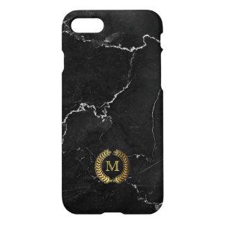 Capa iPhone 8/7 Monograma. Louro do trigo do ouro no mármore preto