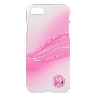 Capa iPhone 8/7 Monograma moderno cor-de-rosa das ondas dos doces