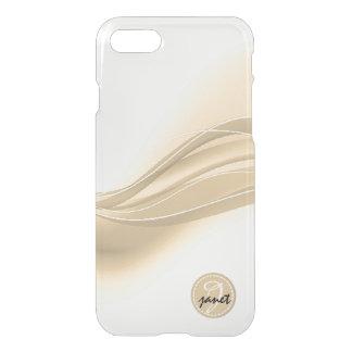 Capa iPhone 8/7 Monograma moderno das ondas do caramelo leitoso