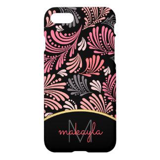 Capa iPhone 8/7 Monograma moderno floral abstrato das senhoras do
