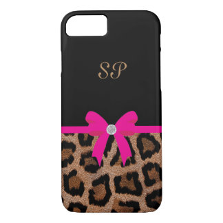 Capa iPhone 8/ 7 Monograma na moda do arco do leopardo do rosa