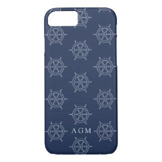 Capa iPhone 8/ 7 Monograma náutico do teste padrão do marinho & da
