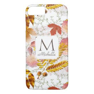 Capa iPhone 8/ 7 Monograma & nome com o iPone 7 das folhas & das