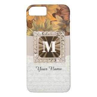 Capa iPhone 8/ 7 Monograma personalizado floral marrom da queda
