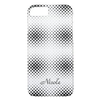 Capa iPhone 8/ 7 Monograma quadrado preto e branco elegante do