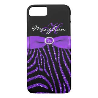 Capa iPhone 8/ 7 Monograma roxo, caixa preta do iPhone 7 da zebra
