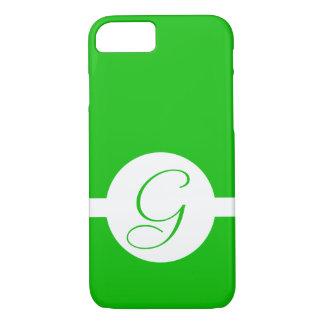 Capa iPhone 8/ 7 Monograma verde-claro do círculo