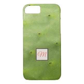 Capa iPhone 8/ 7 Monograma verde tropical botânico da foto do cacto