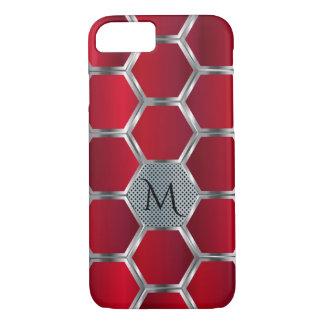 Capa iPhone 8/ 7 Monograma vermelho & de prata geométrico moderno