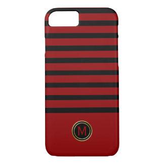 Capa iPhone 8/ 7 Monograma vermelho do ouro da listra do sangue
