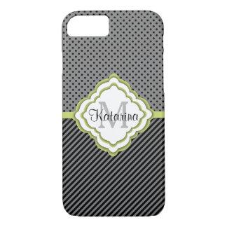 Capa iPhone 8/ 7 Monogrammed, cinza e limão modelados, moderno