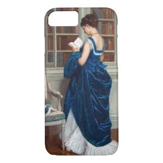 Capa iPhone 8/ 7 Mulher no azul, lendo um livro