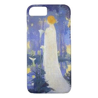 Capa iPhone 8/ 7 Mulher no branco com lillies do Calla