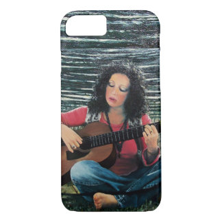 Capa iPhone 8/ 7 Mulher que joga a música com guitarra acústica