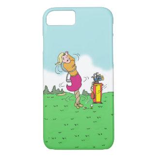 Capa iPhone 8/ 7 Mulher que joga o golfe