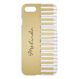Capa iPhone 8/7 Música elegante do teclado de piano do ouro