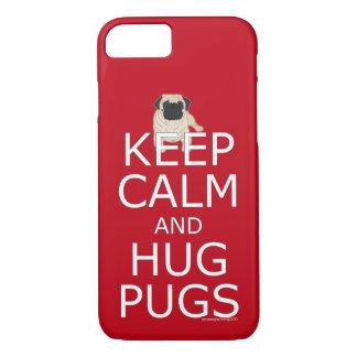 Capa iPhone 8/ 7 Na moda mantenha Pugs calmos do abraço