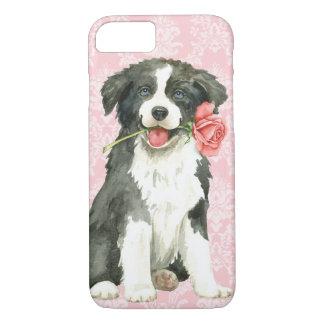 Capa iPhone 8/ 7 Namorados border collie cor-de-rosa