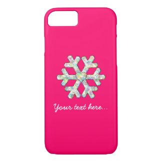 Capa iPhone 8/ 7 Natal do rosa do floco de neve do rosa quente