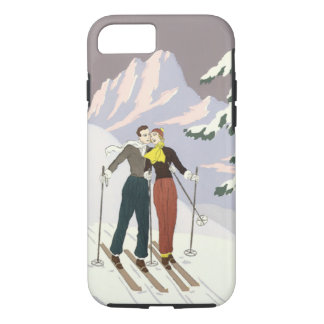 Capa iPhone 8/ 7 Newlyweds de esqui do amor e romance do art deco