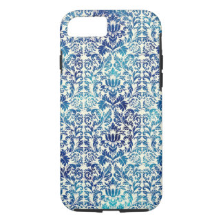 Capa iPhone 8/ 7 Niagara e damasco azul de Shibori do Batik de