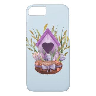 Capa iPhone 8/ 7 Ninho bonito do primavera da aguarela