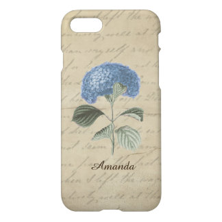 Capa iPhone 8/7 Nome azul do costume do Hydrangea da caligrafia de