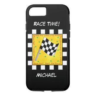 Capa iPhone 8/ 7 Nome Checkered branco da bandeira do preto do