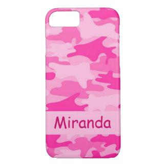 Capa iPhone 8/ 7 Nome cor-de-rosa da camuflagem de Camo