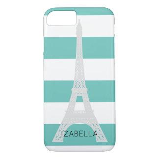 Capa iPhone 8/ 7 Nome do costume das listras & da torre Eiffel da