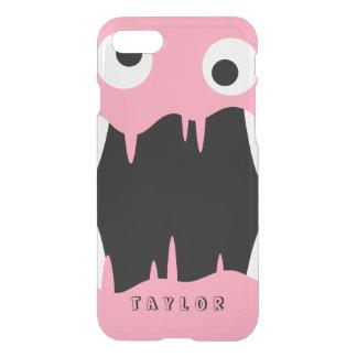 Capa iPhone 8/7 Nome feito sob encomenda cor-de-rosa do monstro  