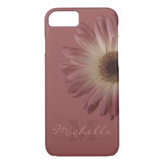Capa iPhone 8/ 7 Nome floral do monograma da margarida do vinho