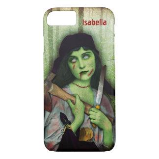 Capa iPhone 8/ 7 Nome gótico do horror do Dia das Bruxas da menina