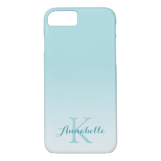 Capa iPhone 8/ 7 Nome & monograma azuis Pastel de Ombre