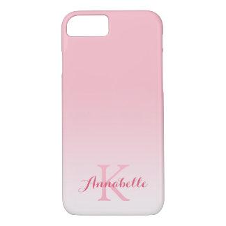 Capa iPhone 8/ 7 Nome & monograma de Ombre do rosa Pastel