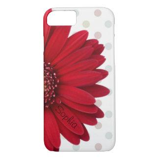 Capa iPhone 8/ 7 Nome vermelho do costume da margarida das bolinhas