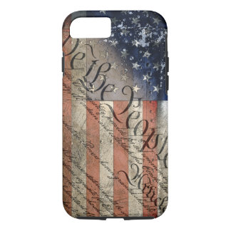 Capa iPhone 8/ 7 Nós do vintage da bandeira americana as pessoas do