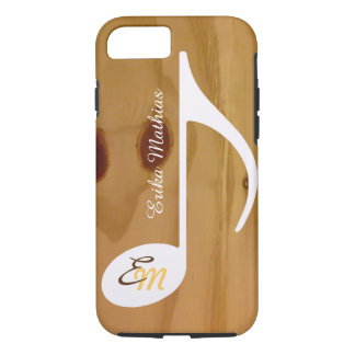 Capa iPhone 8/ 7 nota musical feita sob encomenda legal na madeira,