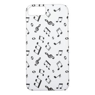 Capa iPhone 8/ 7 Notas musicais preto e branco