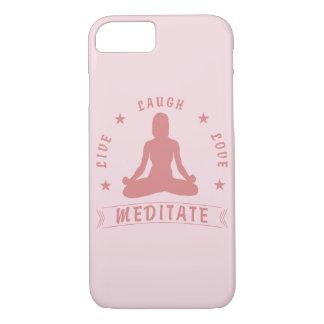 Capa iPhone 8/ 7 O amor vivo do riso Meditate texto fêmea (o rosa)
