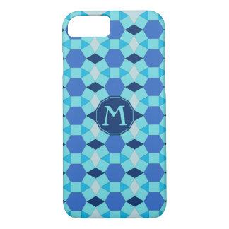 Capa iPhone 8/ 7 O azul inicial do monograma telha o tessellation