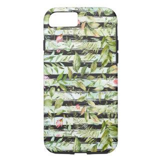 Capa iPhone 8/ 7 O branco preto listra a aguarela floral